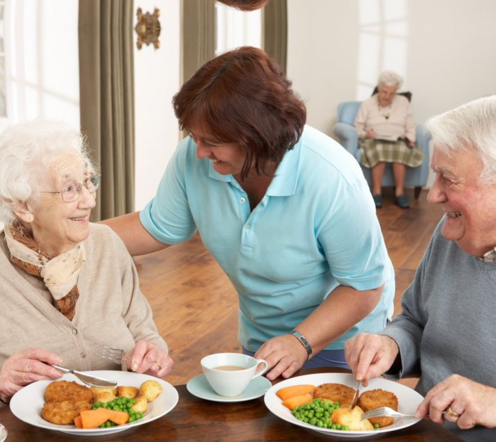 caregiver and her two old patients eating together